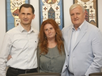 Prof.dr. Dragan Primorac, Nj.E. Emanuela D\'Alessandro i župan Božo Galić