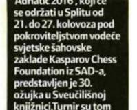 Šahovski festival 'Adriatic' u Splitu, 22. - 27. 8. 2016.